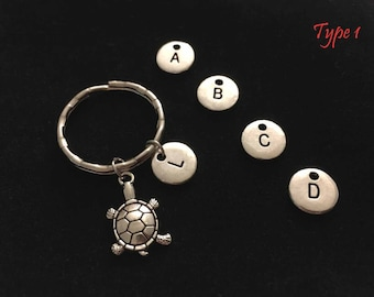 SALE! Sea turtle keychain with letter personalized gift initial keychain sea turtle jewelry sea turtle keychain personalized keychain custom