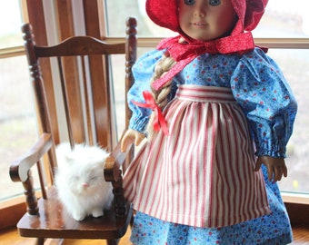 Blue Calico Prairie Doll Dress Set- Dress, Half Apron, Pantaloons and Bonnet -Ready to Ship
