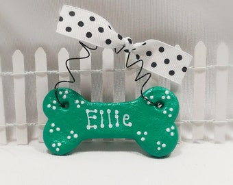 Personalized Dog Ornament, Custom Dog Bone Christmas Ornament, Pet Lover Gift, Small Giftable for Pets, Polkadot Dog Bone Ornament