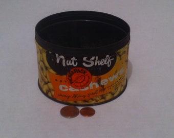 Vintage Metal Tin Can, Peanuts, Nut Shelf Cashews, Shelf Display, Cashew Peanuts Metal Tin Can