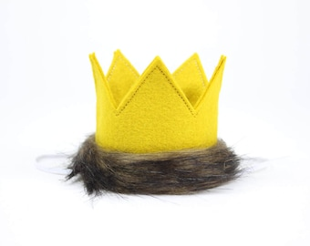 Where the Wild Things Are | Felt Crown | Max Birthday Crown | Felt Crown || Max Birthday Hat on Elastic Headband || Mustard with Fur