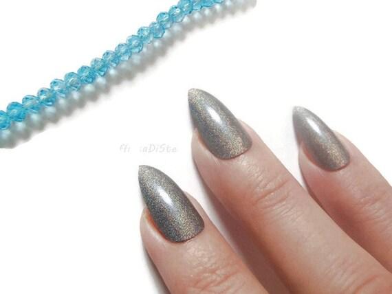Holographic Silver Grey Gray Stiletto Nails Glue On Almond