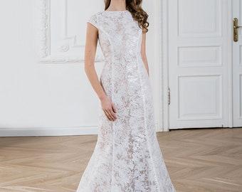 Simple lace wedding dress, Elegant Lace bridal gown, Ivory wedding dresses, Romantic dress, Couture dress, Coloured unique wedding dress