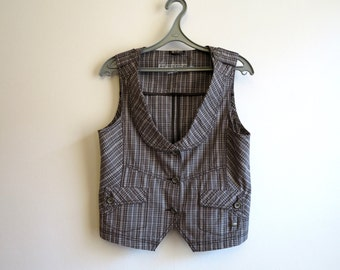 Brown Plaid Womens Vest Steampunk Checkered Waistcoat Size L