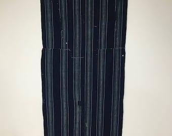Nice, Vintage Japanese Indigo Stripe Cotton Boro Patched Futon Cover Textile, fabric-2089