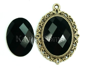 Oval 18x25 Mirror Glass Cabochon Cab Faceted Checker Cut Dome - Jet Black- 2pcs