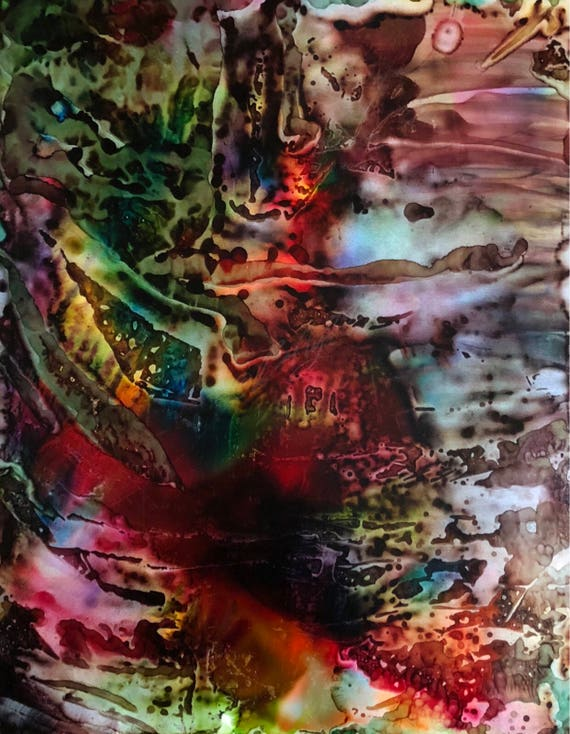 """Original Alcohol Ink Abstract Painting: """"Earned My Stripes"""" (11"""" X 14"""")"""