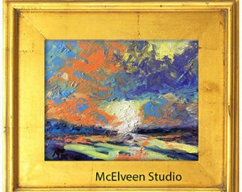 "Claire McElveen Original Plein Air Oil landscape Small Oil Painting ""Dawn's First Light"" landscapes one of a kind Original"