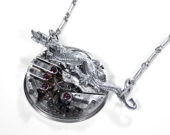 Steampunk Jewelry Necklace ETCHED Silver Pocket Watch DRAGON MENS STATEMeNT Pendant, BOYFRiEND, Incredible One of A Kind! - by edmdesigns