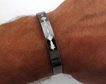 Sound Wave Jewelry, Voice Wave Bracelet, Custom Cuff, Black Sterling Silver Bracelet - Gifts for Him - men bracelet - boyfriend gift