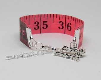 Tailors Tape Measure, Measuring Tools, Useful Jewelry, Sewing Notion Gifts,  Quilter Basket Idea, Re-Purposed Ruler, Haberdashery supplies