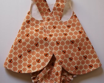 Toddlers Pinafore, Matching Bloomers, Diaper Cover, Jumper Style, Pumpkins, Size 12 month, Baby Dress