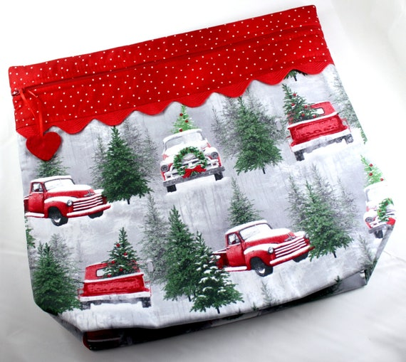 MORE2LUV Snowy Red Truck Cross Stitch Embroidery Project Bag