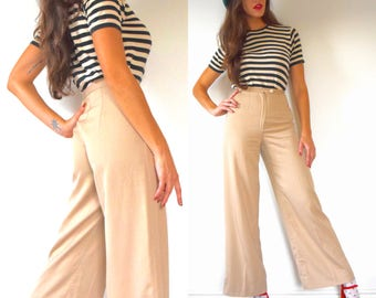 Vintage 70s High Waisted Wide Legged Khaki Trousers (size xs)