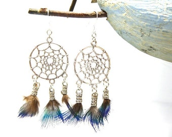 Peacock feather dream catcher earrings hang on 925 Silver