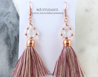 Crystal tassel earrings with rose gold plated findings in dusty pink