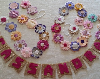Floral Daisy Name Garland Bunting