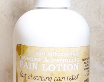 Cayenne & Turmeric Anti-Inflammatory Pain Lotion Treatment. Fast absorbing, helps to take the edge off fibromyalgia, swelling and symptoms