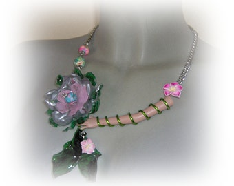 Recycled PET plastic statement necklace Barbie Flowers