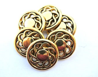 Vintage buttons, flower metal shank buttons, gold coloe 23mm