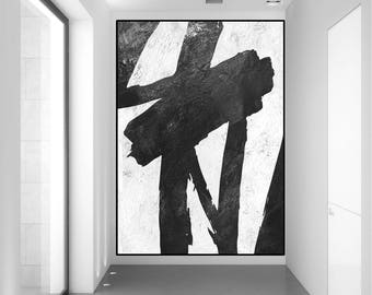 original abstract painting, large abstract art, black and white wall art painting, extra large canvas art, Contemporary Painting