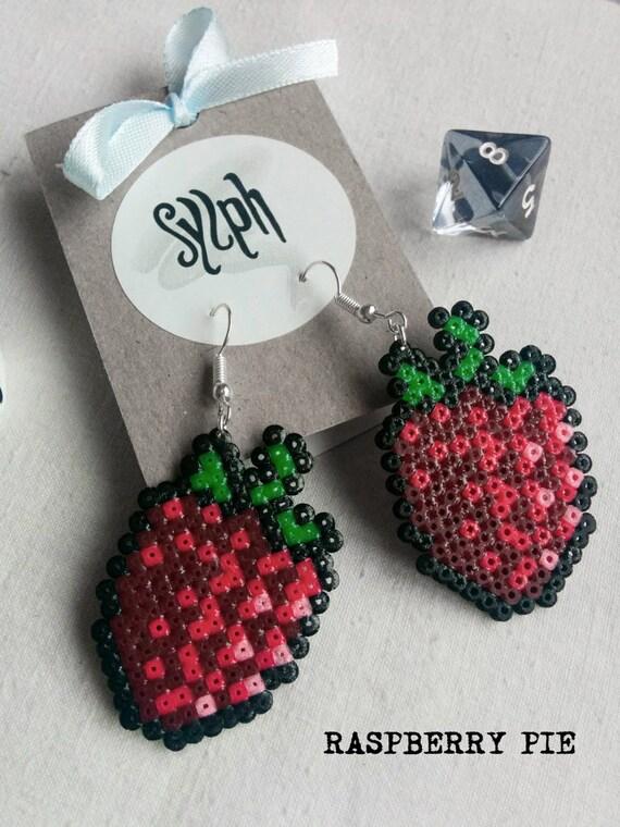 8bit pixelart Raspberry Pie dangle earrings made out of Hama Mini Perler beads in oldschool Vegas retrogames style