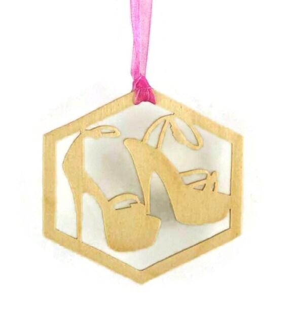 Stiletto High Heel Shoe Christmas Ornament Handmade From Birch Wood, Women's Shoes, Shoe Fetish,