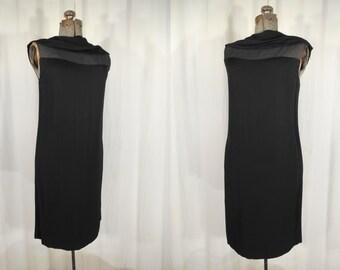 Vintage 1960s Dress - 60s Black Sheath Dress, Small Bombshell Wiggle Cocktail Dress, Mod Mini Dress,