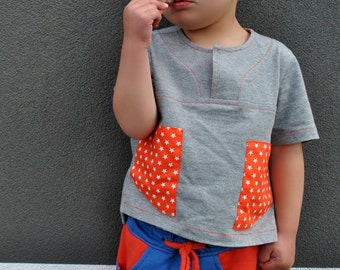 Boy's shirt sewing pattern KIERAN SHIRT kis summer casual shirt size 2 to 12 years. Easy to sew pattern