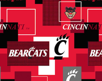 Cincinnati Bearcats Cotton Fabric with New Block Pattern-Sold by the Yard-100% Cotton-Perfect for Quilting and so much more