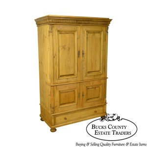 Gentil Country Pine Custom Crafted Large Entertainment TV Cabinet Armoire
