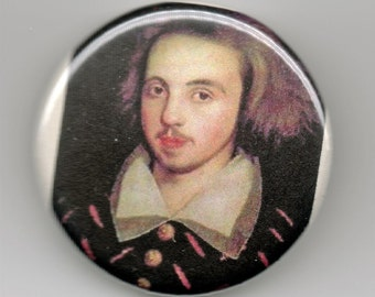 Christopher Marlowe Playwright Portrait 1.25 inch Button