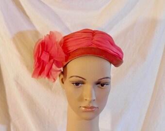 Muhlfelders Pink Organza Fascinator Velvet Brim Fascinator