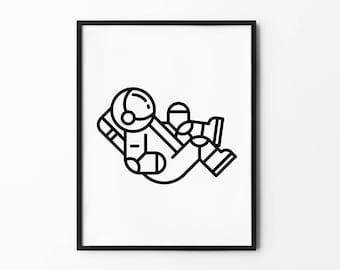 Astronaut Wall Art, Spaceship Print, Cosmos, Spacecraft, Space Shuttle, Geometric Prints, Black and White, Wall Decor, Minimalist