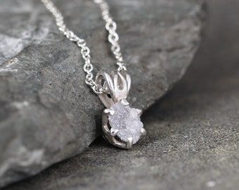 Diamond Pendant - 1 Carat Raw Diamond Necklace - Uncut Rough Diamond - Sterling Silver - April Birthstone - Jewelery Made in Canada -