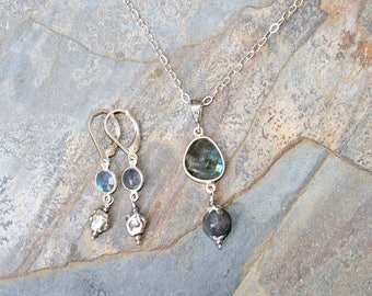 Labradorite Jewelry Set, Natural Stone Jewelry Set, Blue Jewelry Set, Gemstone Jewelry Set, Sterling Silver Jewelry Set, Earthly Baubles