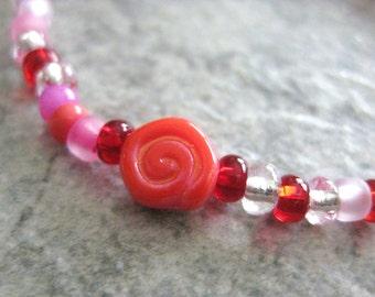 Girls Bracelet, Single Rose, Red flower, Valentine's stretch bracelet, Large Bracelet, GBL 171