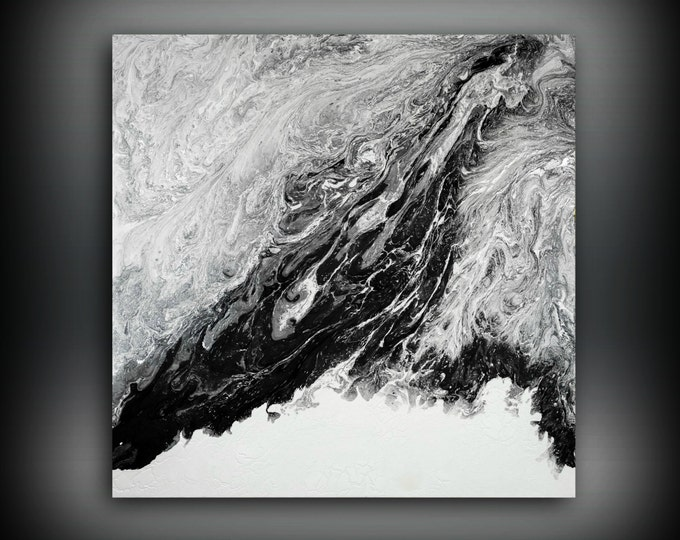 ORIGINAL Painting, Art Painting Acrylic Painting Abstract Painting, Black and White Wall Hanging, Large Wall Art, Modern Wall Decor 36 x 36