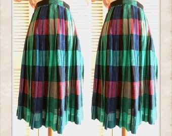 Gorgeous Vintage Plaid Skirt! Spring Skirt , Vintage Plaid Full Skirt