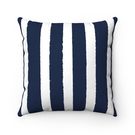 Navy Striped Throw Pillow . Navy Blue Pillow . Blue Lumbar Pillow . Navy Striped Pillow . Navy Blue Cushion 14 16 18 20 26 inch