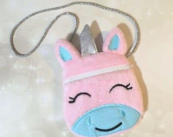 Unicorn Purse - Little girl Unicorn bag - Embroidered Zipper Bag - Furry Unicorn Purse - Unicorn Bag - Kids Unicorn Purse - Unicorn gift