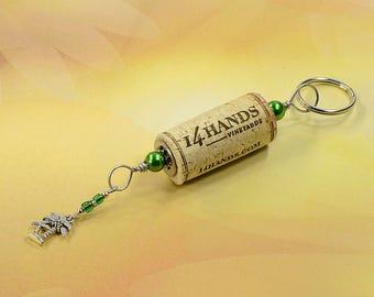 Coconut Tree Green Wine Cork Keychain Key Ring Fob #K113