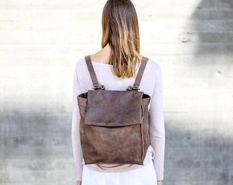 Leather Shoulder / Backpack Bag, Brown Leather Backpack Purse, Student Leather Bag, Handmade Tote Bag