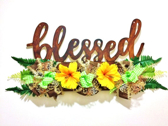 Rustic Blessed Floral Flowers Green Brown Yellow Decor  - Welcome Wreath Hanger