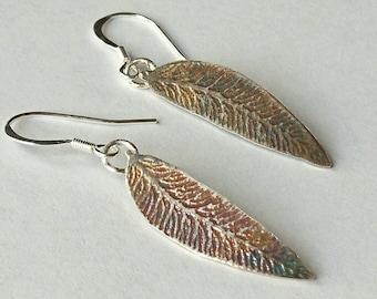 Sterling silver hand pierced oxidised leaf dangle earrings, hallmarked in Edinburgh