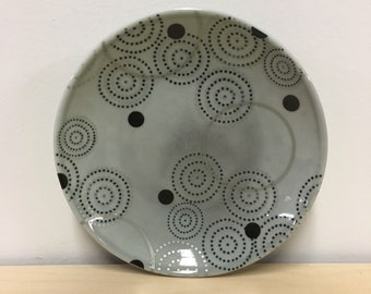 handmade porcelain small plate: Dot Dot Circle Plate by Meredith Host in Grey