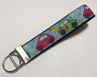 Vw Bug or Beetles that are Hippy or Retro Key Fob Keychain wristlet