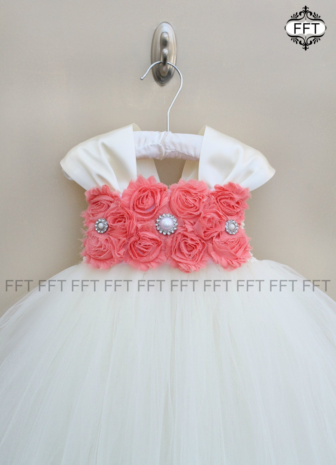 Coral & Ivory or white Flower Girl Dress With Cap Sleeves