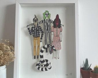 Framed Paper Dolls Beetlejuice