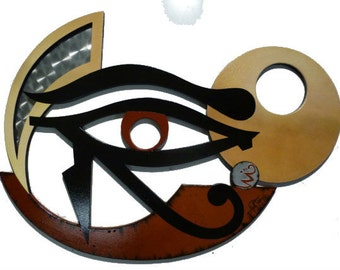 Unique Mythical Wood Wall Sculpture - The Eye of Horus - Egyptian Art